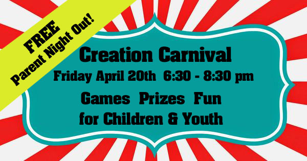 First Presbyterian Church of Brandon Parents night Out Creation Carnival April 20